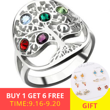 XiaoJing  925 sterling silver personalized family tree ring with birthstone Women fashion ring mother's day gift free shipping xiaojing 925 sterling silver personalized family tree ring with birthstone women fashion ring mother s day gift free shipping