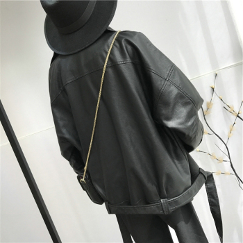 [EAM] High Quality 2021 Spring Black PU Leather Loose Turn-down Collar Zipper Fashion New Women's Wild Jacket LA938 2