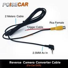Rca a 2.5mm cabo av para câmera de visão traseira do carro estacionamento câmera conversor cabo para carro dvr para carro dvr camcoder gps tablet