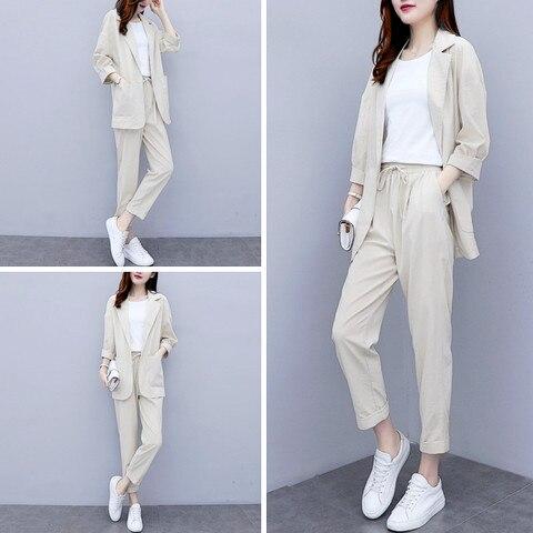 Women Autumn summer Causal  2 piece setssuit Plus Size Solid Cotton and linen Blazer Coat  Harem Pants Suits Karachi
