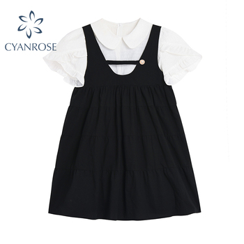 Sweet Cute Preppy Women Two Piece Sets White Kawaii Peter Pan Collar Short Sleeve Shirt And Black Casual Strap Mini Dresses 1