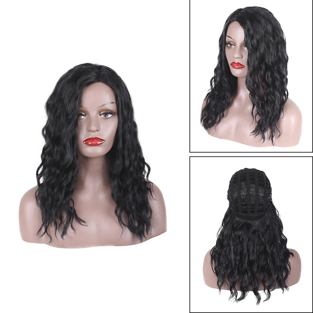 50/65/70cm Length Black Short Wig Women Side Bangs Curly Fashion Wigs High Temperature Fiber Synthetic Hair
