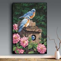 Miaodu Birds Flower Scenic DIY Diamond Painting Mosaic Embroidery Diamond Painting Cross Stitch Embroidery Crafts Paintings