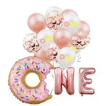 Ballon en aluminium en forme de Donut, 16 pouces, en latex, pour décoration de fête d'anniversaire, de 1er an, pour baptême de bébé