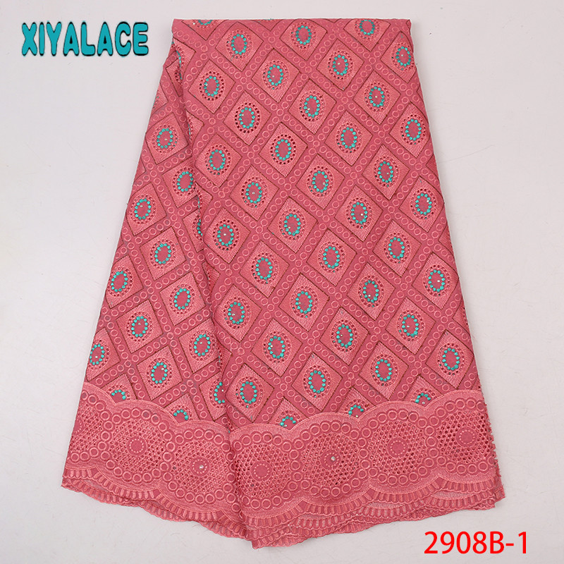 Pink Swiss Lace Fabric Newest,2019 African Dry Lace Fabric, High Quality Swiss Voile Lace In Switzerland KS2908B-1