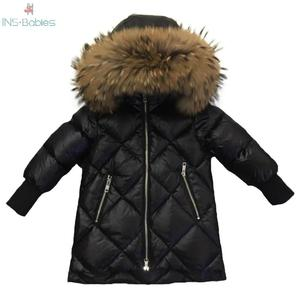 Image 1 - Children Outerwear Winter Jackets Coats Girls Warm Thick Down Jacket Kids Hoodie Big Fur Clothes Russia Winter Snow Wear Parka