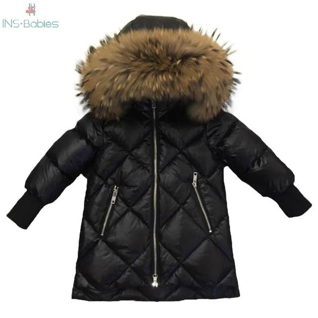 Children Outerwear Winter Jackets Coats Girls Warm Thick Down Jacket Kids Hoodie Big Fur Clothes Russia Winter Snow Wear Parka