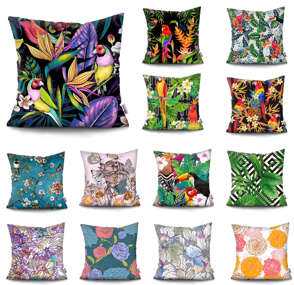 Flowers Cushion Cover pillow decorative Tropical plant parrot cushion cover pillow Decorative Pillowcase for sofa Pillowcover