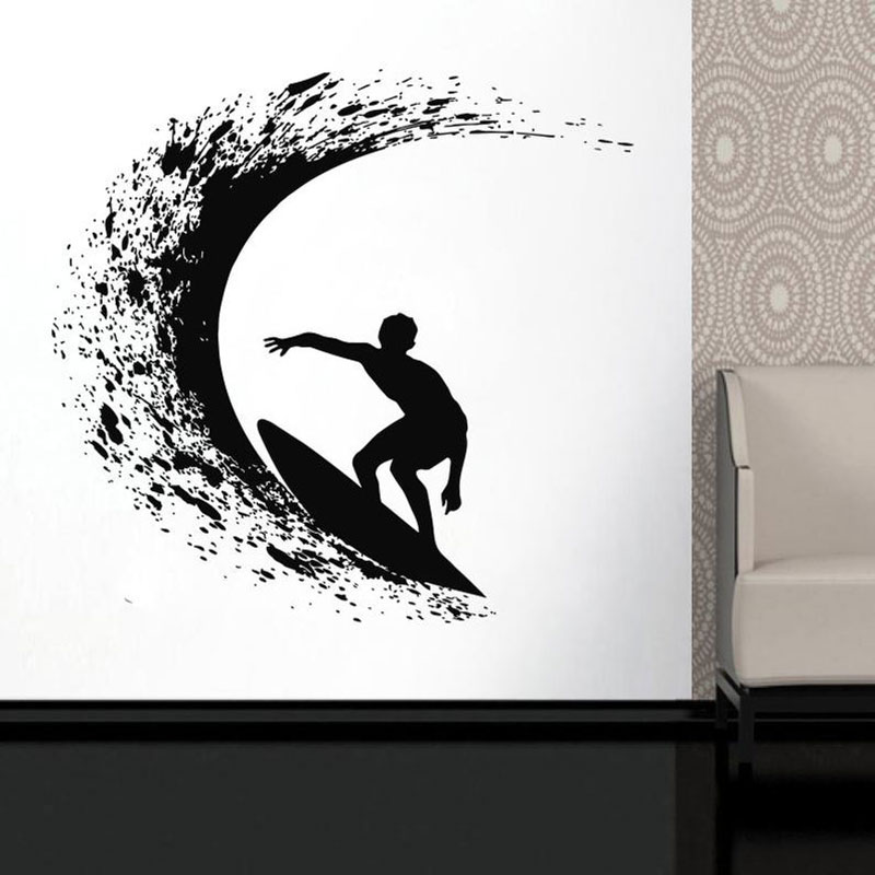 Surfing Surfer Board Wave Ocean Extreme Sports Wall Sticker Vinyl Home Decor Boys Room Teens Bedroom Decals Mural Poster A521