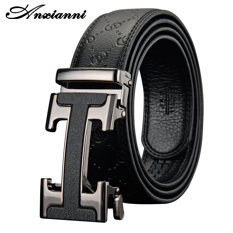 Anxianni Men's Automatic Buckle Genune Leather Strap Black for  Male Business Ratchet  Designers Letter High Quality Belt