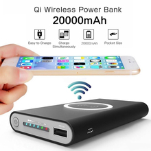20000mAh Qi Wireless Charger Power Bank Portable Charger Pow