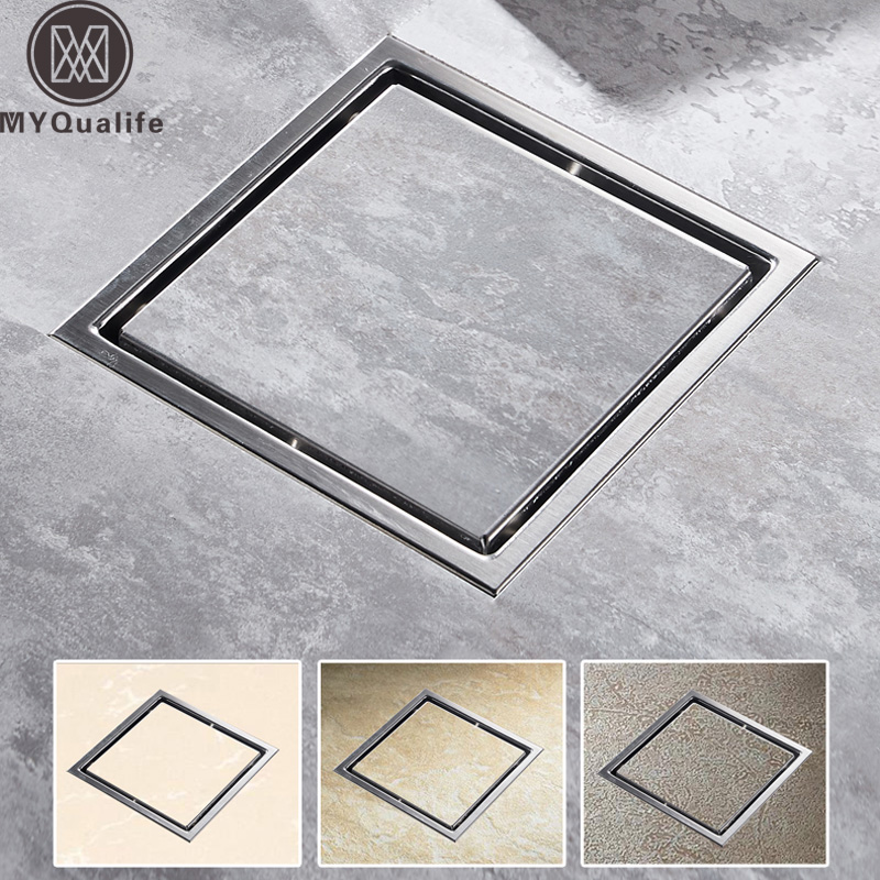 Tile Insert Square Floor Waste Grates Bathroom Shower Drain Floor Drain Antique Fltro Ducha Drain Hair Invisible