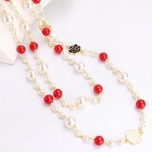 Длинное жемчуг камелии ожерелье женское многослойное с розой