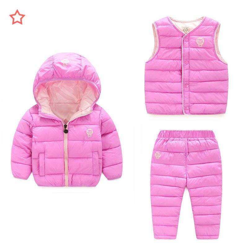 Doudoune enfant trois pièces enfants filles coton vêtements costume garçons bébé manteau chemise pantalon