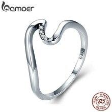 BAMOER autentici anelli di barretta geometrici dell'onda dell'argento sterlina 100% 925 per il regalo S925 SCR378 dei gioielli di fidanzamento di nozze delle donne