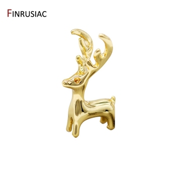 New Designer Cute Animal Deer Charms For Jewelry Making, Glossy Copper Metal 14K Gold Plated Elk Pendant Christmas Accessories 2020 new designer flower charm plated gold rose pendant diy earrings charms making necklace accessories