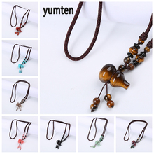 Yumten Lucky Pendant Necklace Stone Sweater Chain Female Accessories Cucurbit Anime Decoration Jewelry Natural Crystal Amulet yumten agate necklace gemstone beads natural stone colares women jewelry crystal accessories statement females chain gioielli