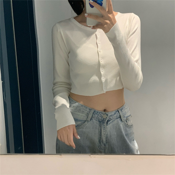 Ailegogo New 2020 Women's Sweaters Autumn Winter Solid Fashionable Buttons Casual Short Cropped Cardigans Knitwear SWC1121 1