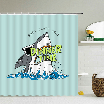 Waterproof Fabric Shower Curtains Decoration Cartoon Shark Bath Curtain Bathroom large 240X180 Screen image