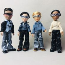 Mini muñeca masculina con ropa, gafas, 4 unidades