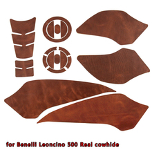 Real leather Motorcycle Tank Pad Protector Sticker Decal Gas Knee Grip Tank Traction Pad For for Benelli Leoncino 500 BJ500 цена и фото