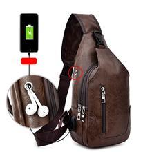 Cross-Border For Custom PU Shoulder Bag Men'S Charging Bag Men'S USB Chest Bag Diagonal Package Messenger Bag Chest New 2020