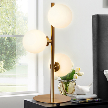 Modern Nordic Three heads glass Ball Table Lamps living room bedroom bedside study golden iron Table Lamps