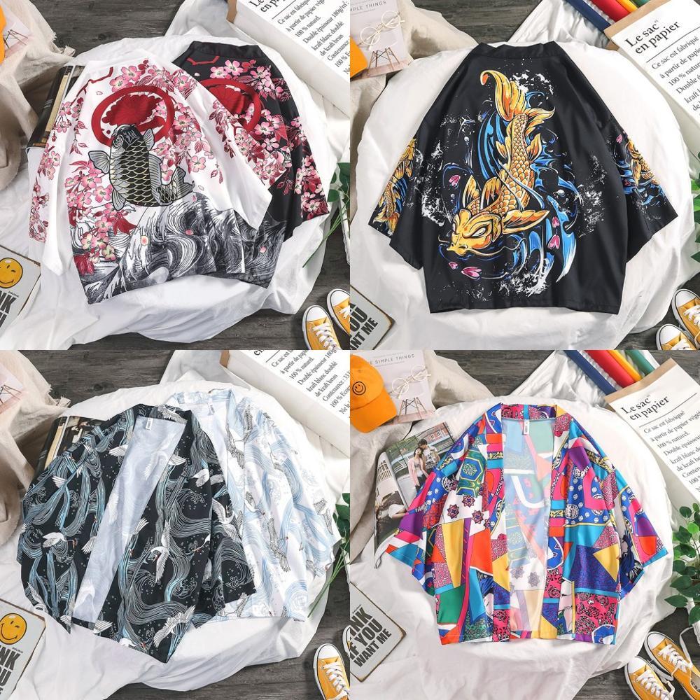 New Japanese Kimono Traditional Kimono Cardigan Men Fashion Japanese Kimono Yukata Kimono Japan Style Loose Asian Clothes SL1345