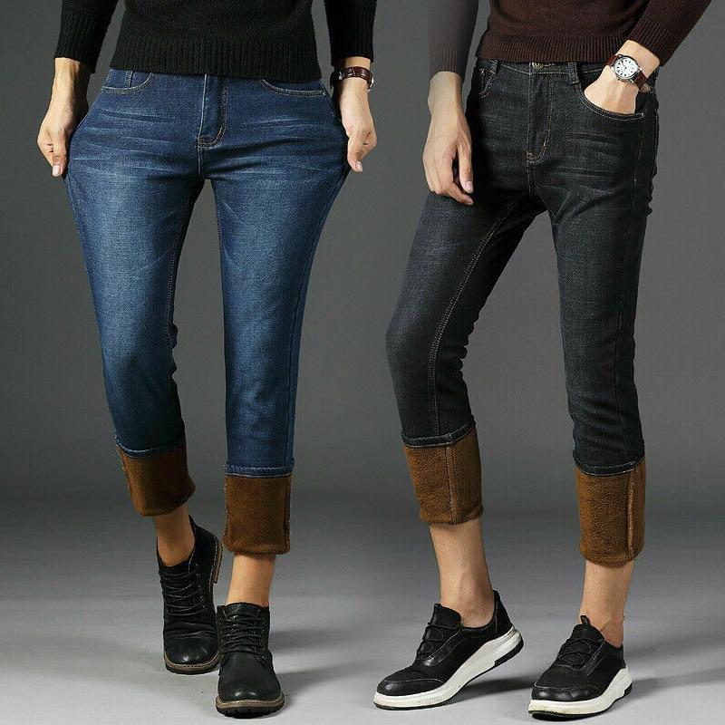 Mens Winter Denim Pants Jeans Fleece Lined Warm Straight Leg Trousers Thicken Long Pants Plus Size H9