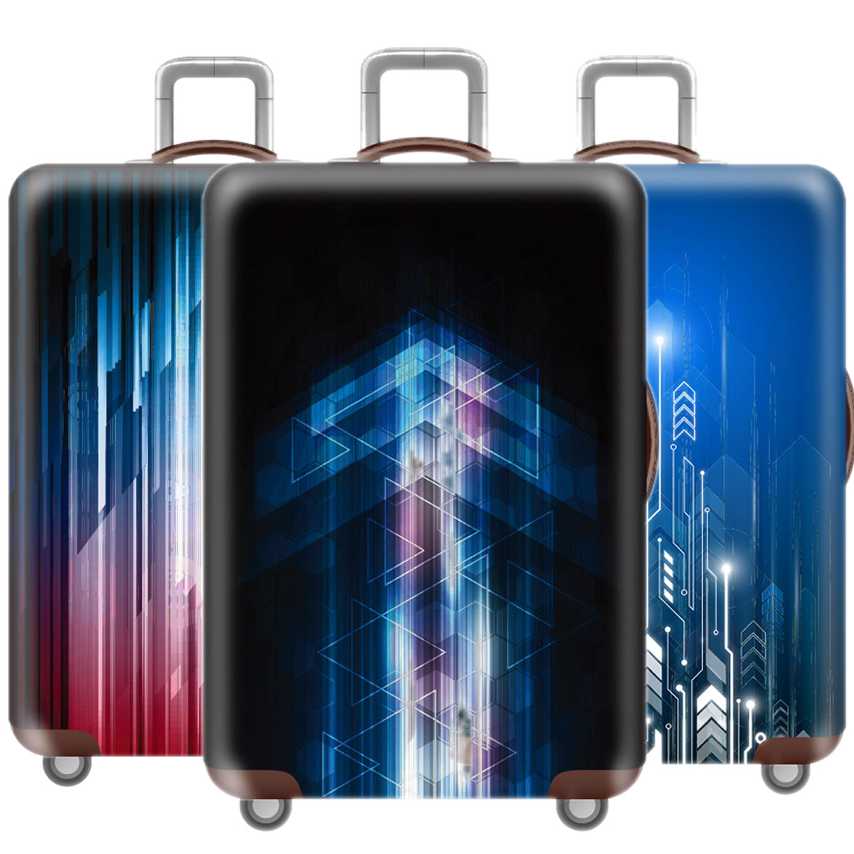 Fashion 3D Cool Luggage Cover Protective Case Thicken Waterproof Elastic Blue Suitcase Cover For 18-32 Inch XL Travel Accessorie