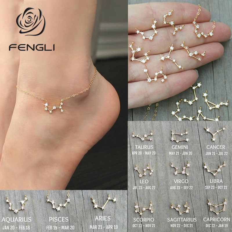 FENGLI Simple Tiny 12 Constellations Anklet for Women Geometric Zircon Zodiac Foot Chain Anklets Statement Jewelry