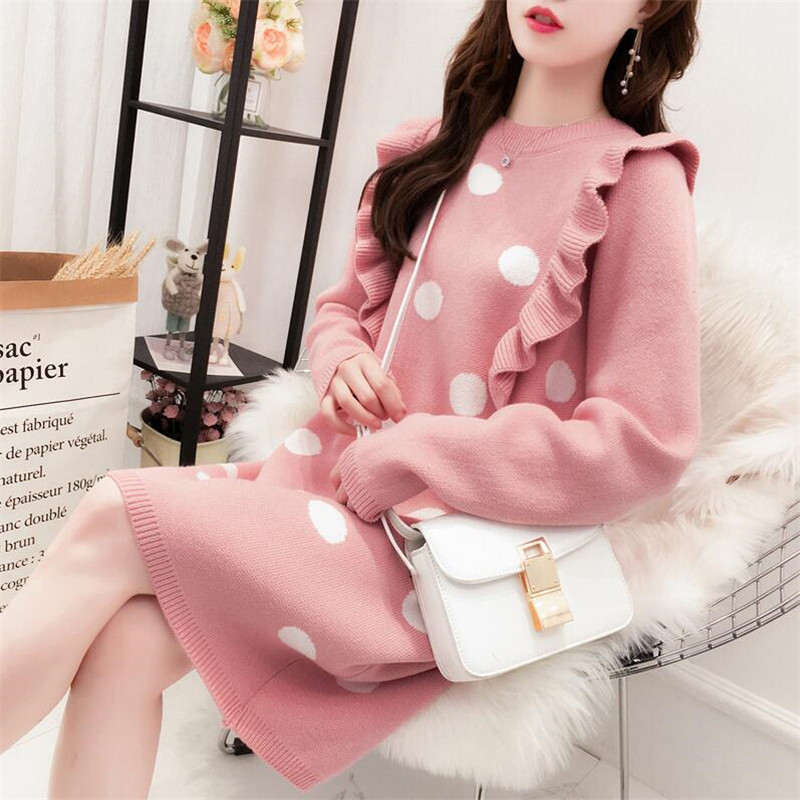 Long Over-the-knee Sweater Skirt Female 2019 New Autumn And Winter Long-sleeved Dot Lotus Leaf Side Hood Loose