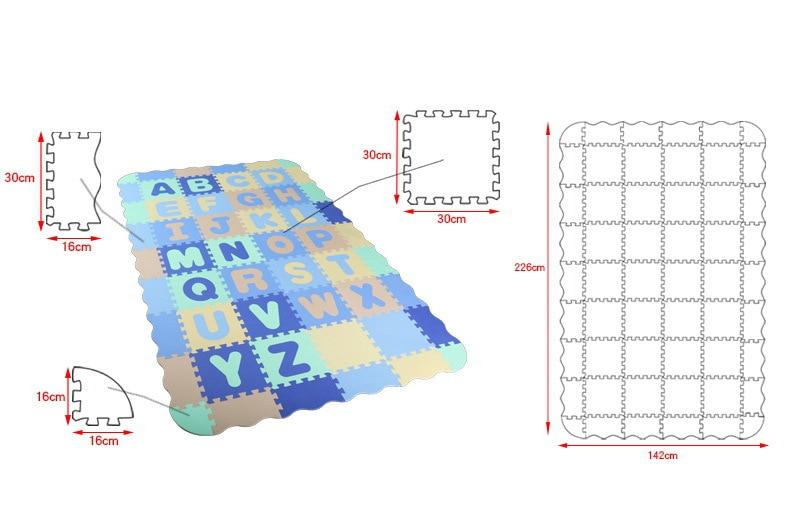 54 pièces EVA mousse Puzzle tapis dessin animé anglais Alphabet motif bébé ramper tapis Puzzle jouets bébé jouer jeu tapis de gymnastique enfants jouets - 3