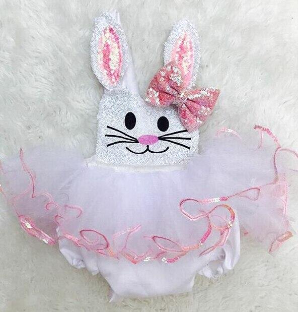 Sommer Ostern Bunny Baby Mädchen Kaninchen einteiliges Body Squines Ärmellose Elastische Taille Body Casual Kleidung