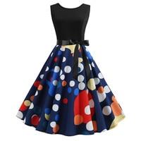 Polka Dot Summer Dress 2019 Fashion Sleeveless Pinup Floral Print Robe Vintage 50 S 60 S Rockabilly Dress Large Swing Vestidos