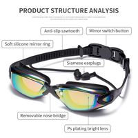 Adults Antifog Professional Swimming Goggles Black Swimming Glasses with Earplugs Nose Clip Electroplate Silicone Swim Glasses
