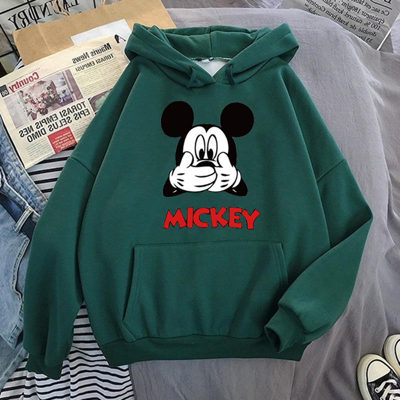 Disney Women Hoodies Minnie Mickey Mouse Hoodies Cartoon Tops Long Sleeve Pockets Sweatshirts Fashion Hooded Women 20