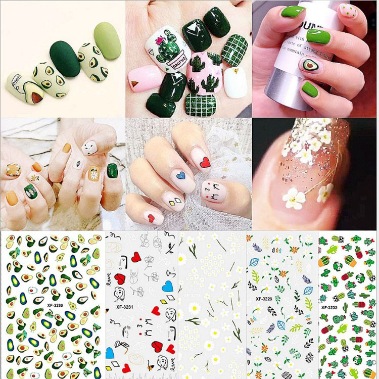 Joe Chen Celebrity Style Fried Egg Stand Egg Rainbow Strawberry Avocado Weep Yafeng Nail Stickers Nail Sticker