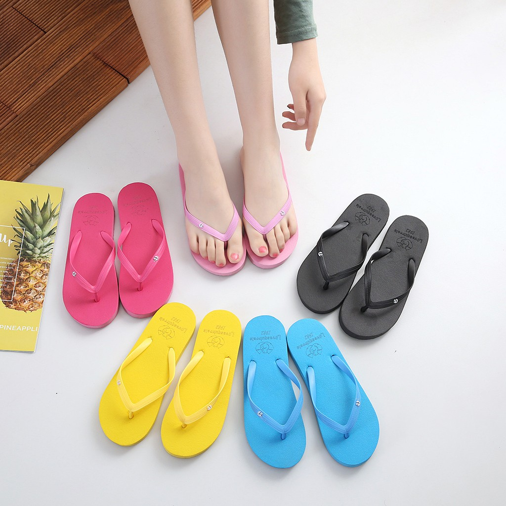 mens slippers indoor Men's Summer Animal Solid Beach Flip Flops Anti-slip Slipper Casual Shoes Breathable Thick-soled Sandals