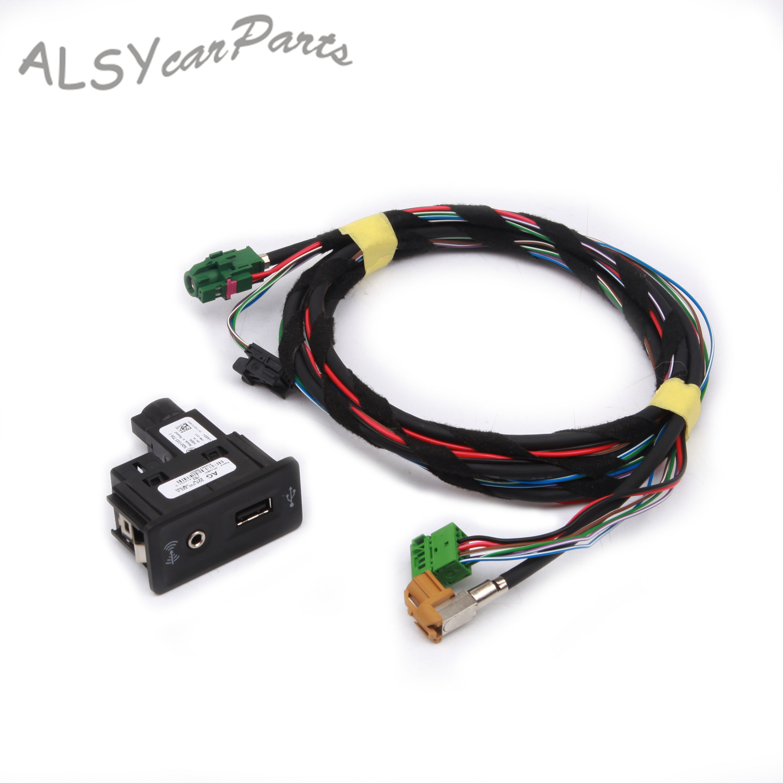 YMM 5G0 035 222 F Switch Plug Harness Set CarPlay MDI <font><b>USB</b></font> AMI Install Plug Socket For <font><b>VW</b></font> <font><b>Golf</b></font> <font><b>7</b></font> MkII 5G0035222H 5Q0 035 726 E image