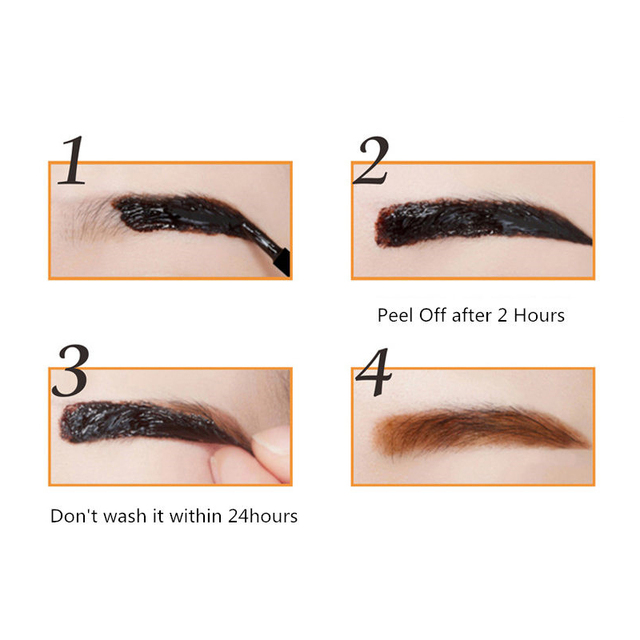 1Pcs Eyebrow Tattoo Gel Black Coffee Gray Peel Off Eye Brow Shadow Eyebrow Gel Cosmetics Makeup for Women High Pigmented Makeup 3