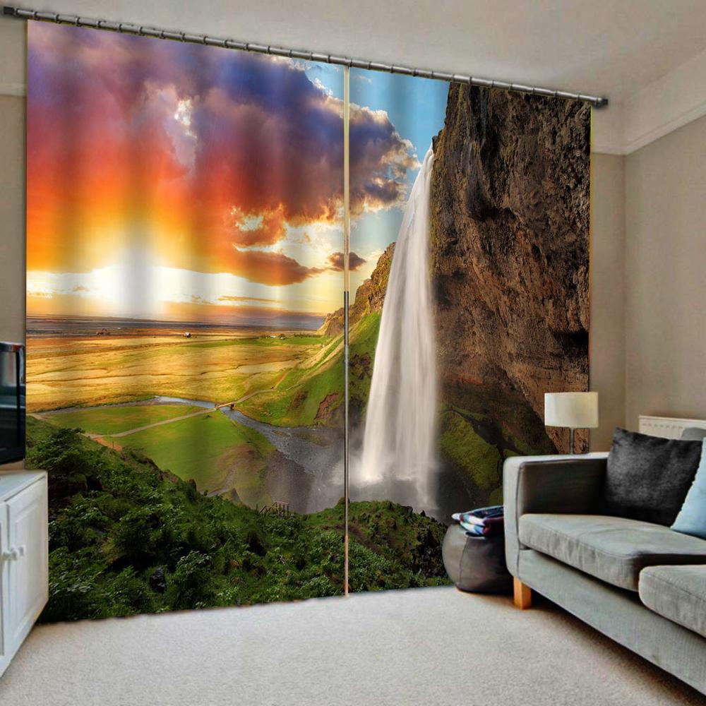 3D Curtain Waterfall Landscape Curtains For Living Room Bedroom Kitchen Door Window Curtain Drapes