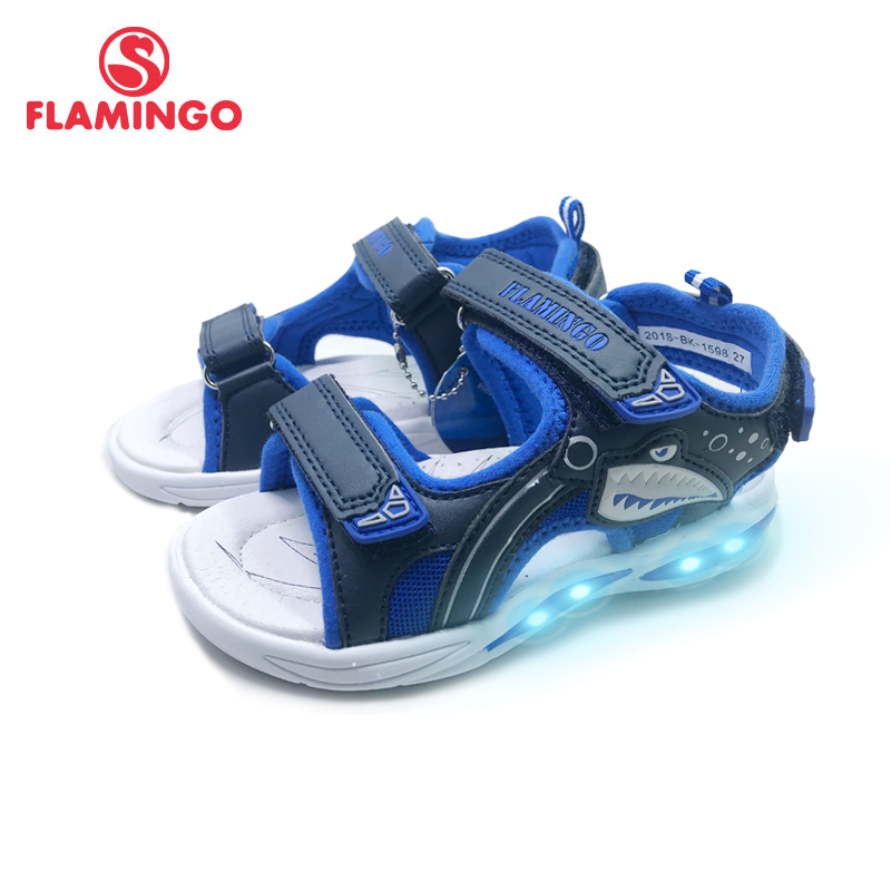 FLAMINGO LED New  Spring& Summer Hook& Loop Casual Sandals Leather Insole Outdoor Shoe Size 27-32# For Boy 201S-BK-1598/1599