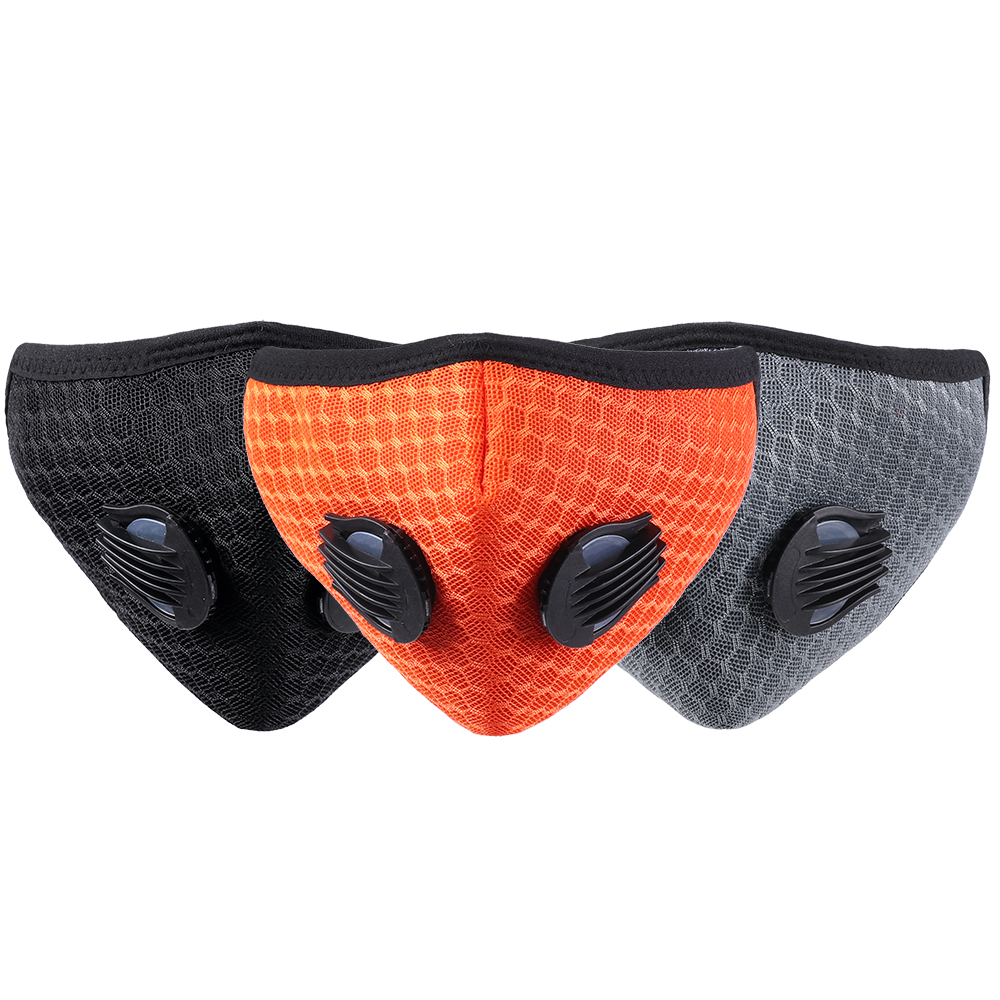 1Pc Anti Dust Training Mask With Filter Half Face Carbon Filtration Cover Replaceable Breathable Valve Mask For  Cycling Bicycle