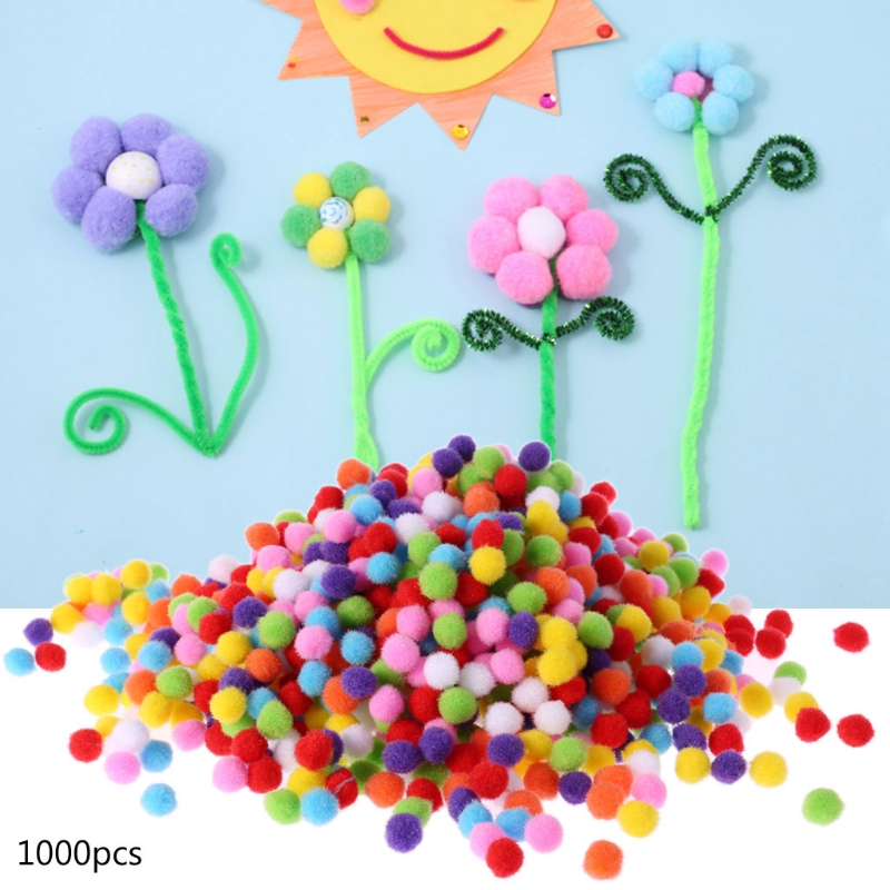 1000Pcs Soft Round Fluffy Craft PomPoms Ball Mixed Color Pom Poms 10mm DIY Craft