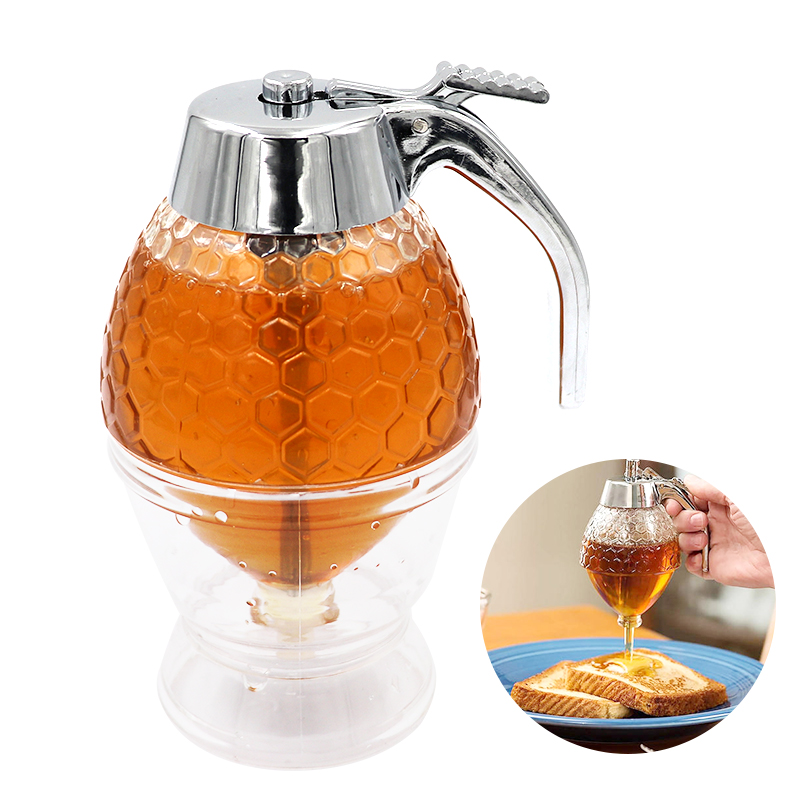 Juice Syrup Cup Bee Honey Drip Dispenser Kettle Kitchen Accessories Honey Jar Container Storage Pot Stand Holder Squeeze Bottle