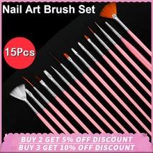 цены 15Pcs Nail Art Brushes Set Professional Line Flower Painting Coating Shaping Flat Fan Angle Pen Carving Pen UV Gel Manicure Tool