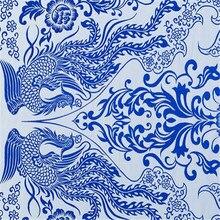 75x100 см, Новое поступление, китайский стиль, жаккардовый дизайн, голубой и белый фарфор, парча, полиэстер, ткань для продажи