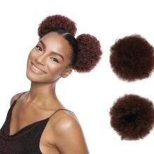 6 polegada alta afro puff cabelo sintético bun chignon hairpiece para mulheres cordão rabo de cavalo kinky encaracolado clip em extensões