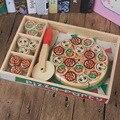 Pizza Holz Spielzeug Lebensmittel Kochen Simulation Geschirr Kinder Küche Pretend Spielen Haus Spielzeug Obst Gemüse Geschirr Kinder Geschenke